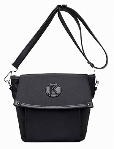 Aalardom Women Casual Fashion Shoulder Bags Studded Black Nylon Bags Crossed