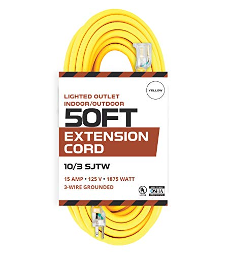 50 Foot Lighted Outdoor Extension Cord - 10/3 SJTW Yellow 10 Gauge Extension Cable with 3 Prong Grounded Plug for Safety - Great for Garden and Major Appliances (Volt 50' Cord)