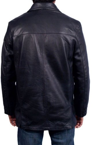 Men's Three Button Black Sheep Soft Leather Coat