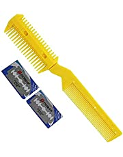 BingQing brand Professional Razor Comb. DIY Professional Scissor Hair Razor Comb Hairdressing Thinning Trimmer-yellow
