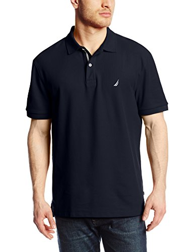 (Nautica Men's Short Sleeve Solid Deck Polo Shirt, Navy, Large )