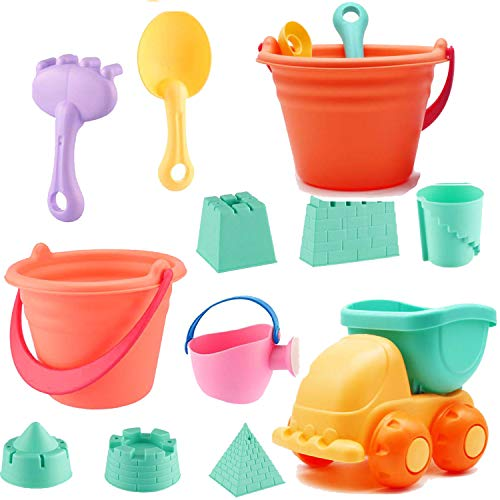 SLONLI 11pcs Sand Beach Toys for Kids Soft Beach Toys with Sand Buckets Castle Molds Watering Can Shovel Rake Dump Trucker Sandbox Toys for Baby Toddlers