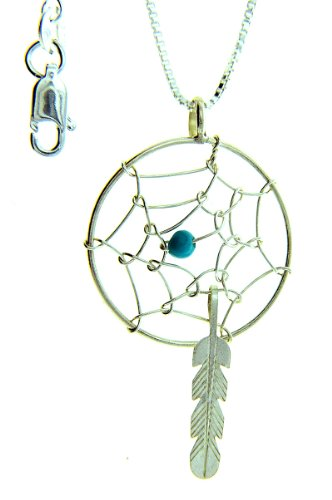 (By Navajo Artist Helena Yazzie: Sterling-silver Dream Catcher-turquoise pendant-necklace )