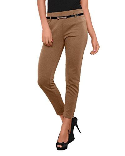 Pantalones de mujer (de pierna recta, cinturón incluido, NR: 414) Beige