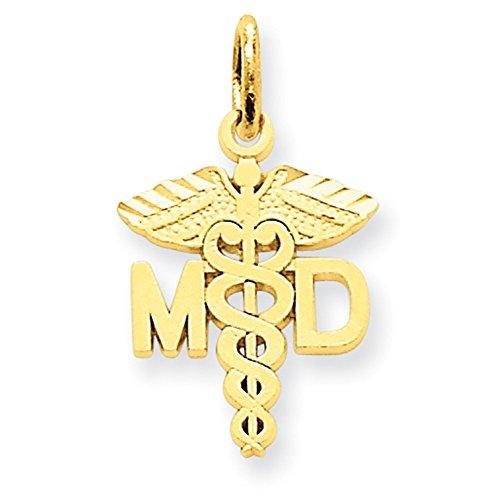 Lex & Lu 14k Yellow Gold M.D. Caduceus Charm ()
