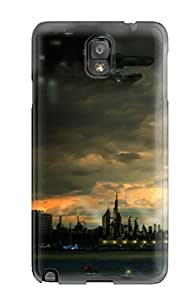 For Galaxy Note 3 Protector Case Spaceship Sci Fi Artistic Water City People Sci Fi Phone Cover