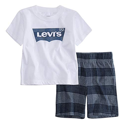 Levi's Baby Boys Graphic T-Shirt and Shorts Two-Piece Set, White/Blue Plaid, 24M ()