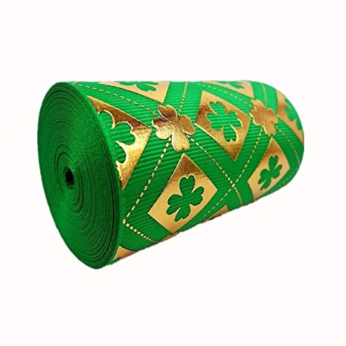 5 Yards Gold Foil St. Patrick's Pattern Printed 3 Inch Green Polyester Grosgrain Ribbon Hairbow Craft Supplies Sewing