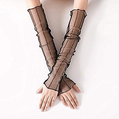 Demarkt 1 Paar Sleeves Arm f/ür Damen Spitze Lang Fingerlos Handschuhe Aus elastischem Nylon Sonne absorbiert schwei/ß Outdoor UV Schutz Arm Sleeve