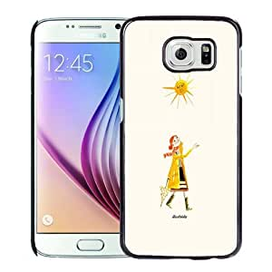 Beautiful Custom Designed Cover Case For Samsung Galaxy S6 With Hand Painted Girl and Sun Phone Case