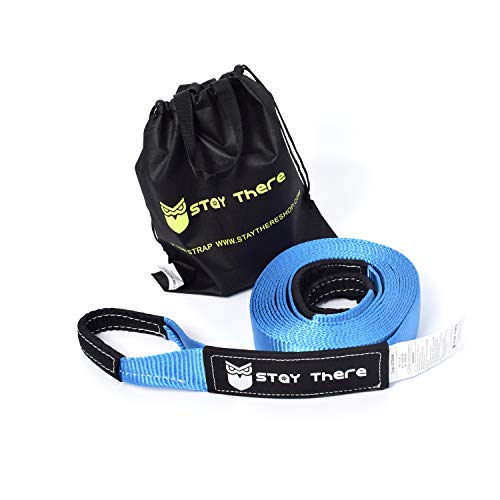 Blue Tow Rope - Stay There 3''x30' Tow Strap Heavy Duty with 30,000 lb Capacity-Emergency Towing Rope for Recovery Vechiles-Storage Bag
