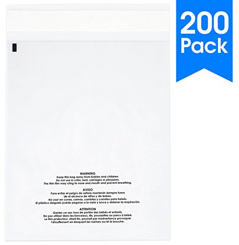 (200 Count - 6 X 9 Self Seal 1.5 Mil Clear Plastic Poly Bags with Suffocation Warning - Permanent Adhesive by Spartan Industrial (More Sizes Available))
