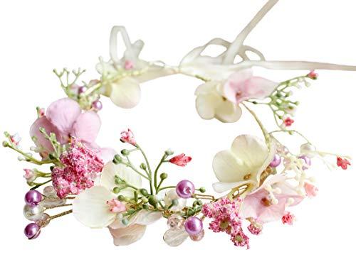Vivivalue Boho Flower Crown Adjustable Flower Headband Hair Wreath Floral Headpiece Halo with Ribbon Wedding Party Festival Photos Pink