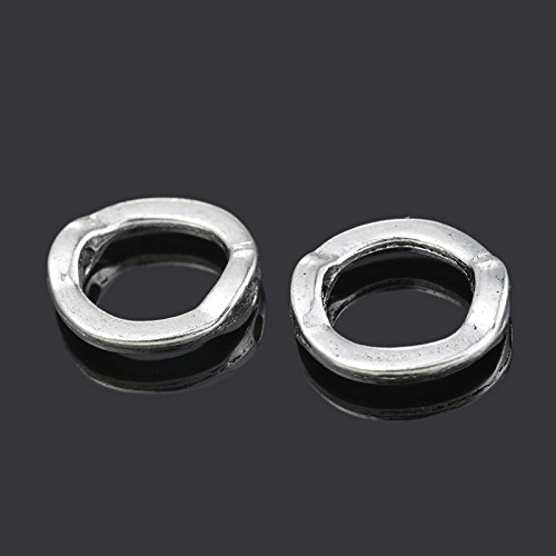YC 50 Silver Tone Circle Bead Frames 13mm Findings Loose Metal Beads Craft DIY Jewelry Making Findings Charms Pendants ()