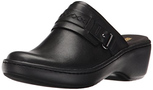 CLARKS Women's Delana Amber Mule, Black Leather, 9 M US