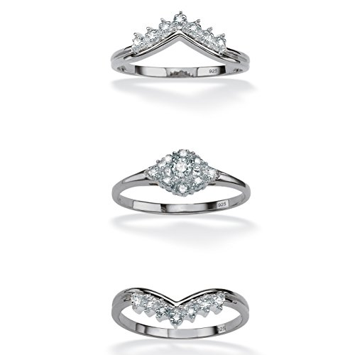 White Diamond in Platinum over .925 Silver 3-Piece Bridal Set (.22 cttw, HI Color, I1-I2 Clarity) Size 5 by Palm Beach Jewelry (Image #1)