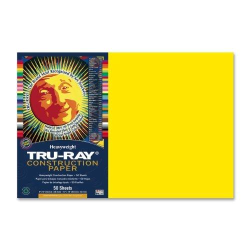 Tru-Ray Construction Paper, 12'X18', Yellow, 50 Sheets by Tru-Ray 12X18 O160429