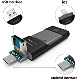 penobon For iPhone Flash Drives 32 GB 3 In 1 Jump Drive OTG USB Memory Sticks For iPhone USB Flash Drive For iPad Android Cellphones & Computers Color Black Metal USB Stick