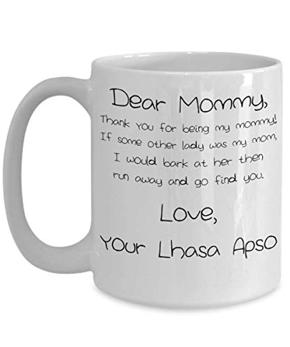 Mother's Day Lhasa Apso Mug - White 11oz 15oz Ceramic Tea Coffee Cup - Perfect For Travel And Gifts
