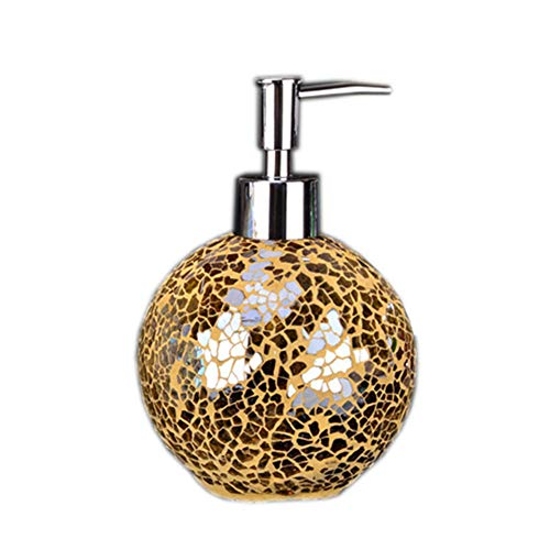 ENWEI Liquid Soap Dispenser for Bathroom with Pump - Decorative Mosaic Glass Bottle for Kitchen Sink, Hold Dish Soap, Hand Soap, Massage Oil, Mouthwash or Shampoo (Gold)