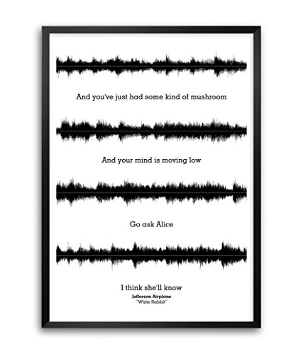 Lab No. 4 Jefferson Airplane White Rabbit Lyrics Quotes Framed Poster Size A3