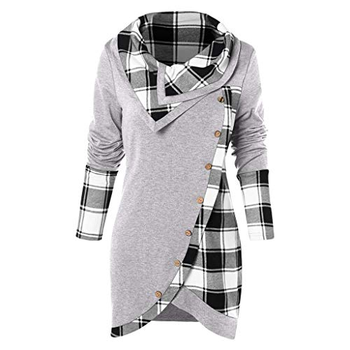 (Women's Button Hoodie Sweatshirt Tunic Dress Pullover Cowl Neck Plaid Drawstring Tops(S-5XL))