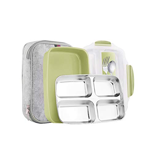 (Slim Stainless Steel Square Lunch Box Set Insulated Leak Proof Lunch Box for Adults and Kids Non-toxic Tasteless With Insulated Bag And Cutlery Dishwasher Microwave Safe (Green transparent)