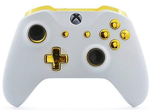 White/Gold Xbox One S/X Rapid Fire Custom Modded Controller 40 Mods for All Major Shooter Games WW2 (with 3.5 Jack)