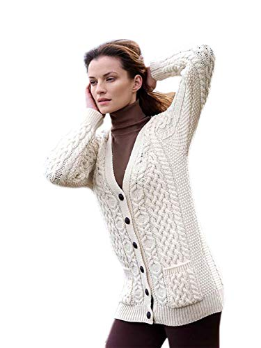 100% Irish Merino Wool Aran Knit Boyfriend Sweater by West End Knitwear, Natural, L (Irish Knit Sweater)