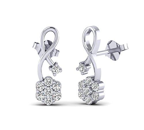 Fehu Jewel Women's 0.30ct Natural Diamond G-H Color Earrings 10k white gold Fine Earrings for Women Gift for (10k I1 Earrings)