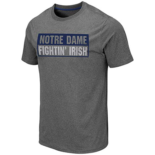 Colosseum Men's NCAA Athletic T Shirt - Tagless Mens Tech Tee-Charcoal Grey-Notre Dame Fighting Irish-XL from Colosseum