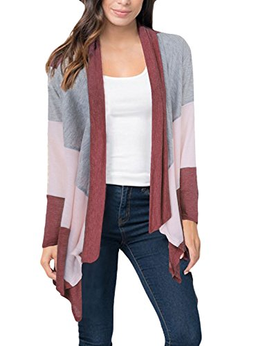Ourfashion Women's Long Sleeve Open Front Cardigan Lightweight Sweaters Burgundy