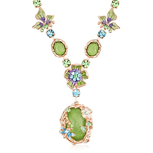 Gilles Replacement (The Starry Night Bohemian Style Green Crystal Beautiful Flower Girl Femininity Noble Temperament Necklace)