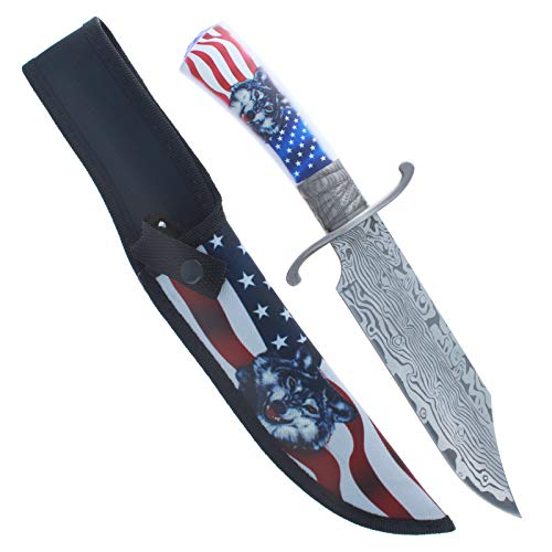 ASR Outdoor Damascus Etched Hunting Knife 12.25 Inch Fixed Blade 440 Stainless Steel Wont Rust Nylon Sheath American Flag Wolf Patriotic Design Clip Point Belt Loop Function Camping Tool