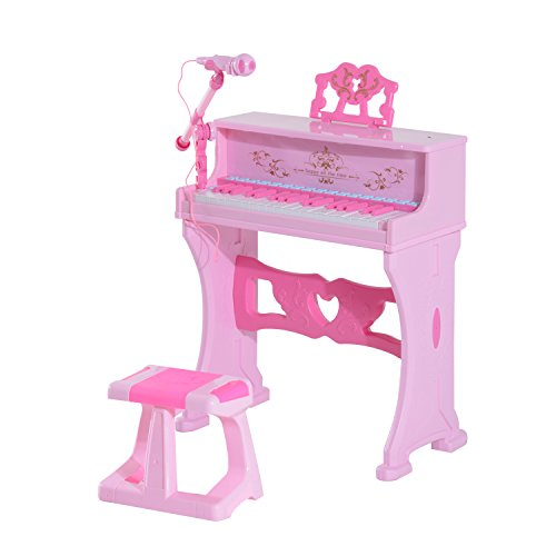 Qaba Kids 37 Key Lovely Princess Electronic Piano Keyboard with Stool and Microphone – Pink