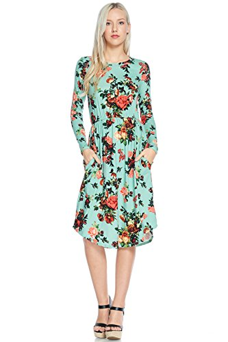 Reborn J's Floral Midi Dress (Large, Mint)