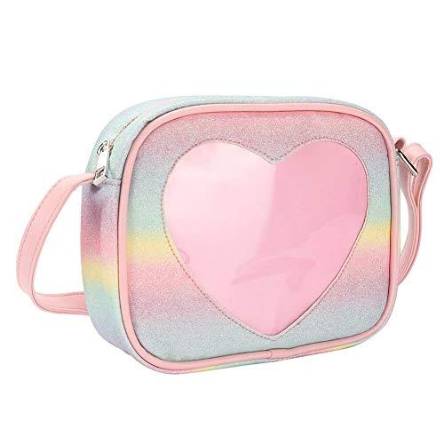 SteamedBun Ita Bag Cat Shaped Crossbody Purse Cell Phone Wallet Shoulder Bags with Window (Rainbow-heart), Small]()