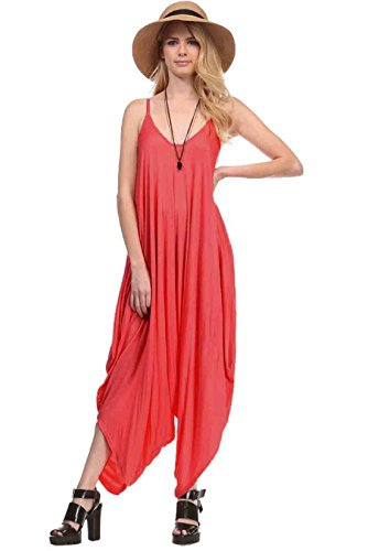 Solid Color Ladies Spaghetti Strap Loose Fit Harem Jumper Multi Color Available (Medium, DARK CORAL)