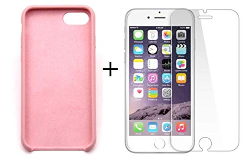 (iPhone 7 Case with Tempered Screen Protector Liquid Silicone Gel Rubber Case Soft Microfiber Cloth Cushion Compatible with Apple iPhone 8 (Rose Pink))