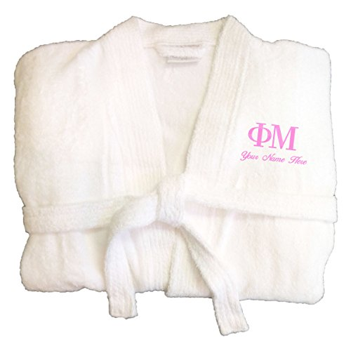 KYS Phi Mu Sorority Personalized Terry Robe Large White Name (63 Inch Greek Key)