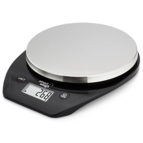 Smart Weigh Multifunctional Digital Food Scale w/ Slim Stainless Steel Platform, Kitchen Scale w/ LCD Display, and Easy Tare, Scale for Baking, Cooking, and BBQ, Batteries Included, 11lbs/5kg