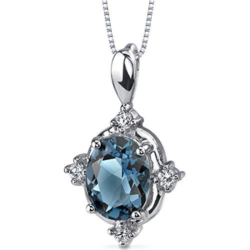 - Stunning Classic 2.00 carats Oval Shape Sterling Silver Rhodium Nickel Finish London Blue Topaz Pendant