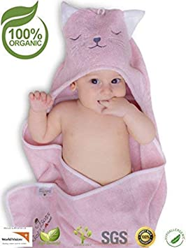 Premium Hooded Baby Towel by Totolino | Extra Soft, 100% Organic Bamboo Towel | Antibacterial & Hypoallergenic Baby Washcloths Keep Baby Dry and Warm | Size Towel For Infant, Toddler & Kids | Perfect