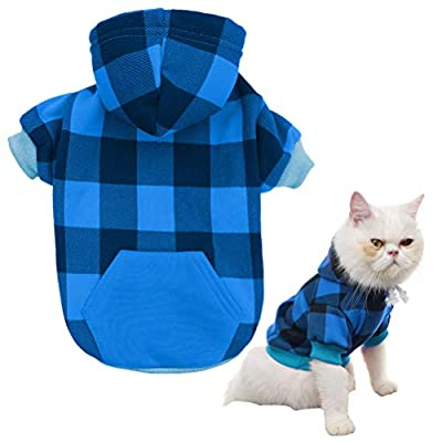 KOOLTAIL Plaid Dog Hoodie for Small to Medium Dogs Cats Pet Clothes by Best4cat