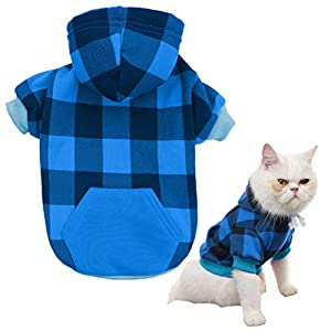 KOOLTAIL Plaid Dog Hoodie Pet Clothes Sweaters with Hat