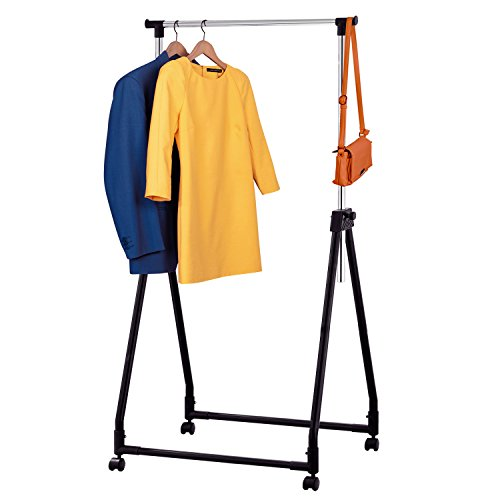 Chromed Wheel - Tatkraft Swift Compact Adjustable Collapsible Clothes Hanging Rack on Wheels 60X48X94-170cm Chromed Steel