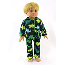 """Green Yellow Dino Pajamas For Boys - 18 Inch Doll Clothes - Fits 18"""" American Girl Dolls, Super Cute Dinosaur Print, Perfect For Sleepover - Charming And Stylish Boy Outfit *DOLL IS NOT INCLUDED*"""