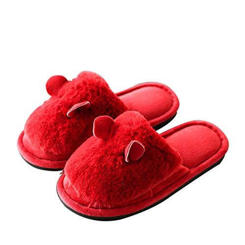 La Épais En Antidérapantes Pantoufles Femmes Fond Les Coton L'intérieur Red Faites À Chaudes Maison SISUwnx