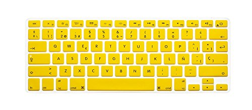 Spanish / English Keyboard Cover, HQF® Notebook Silicone *Spanish Keyboard Skin* Protection Laptop Layout for All Apple Macbook Air Pro 13