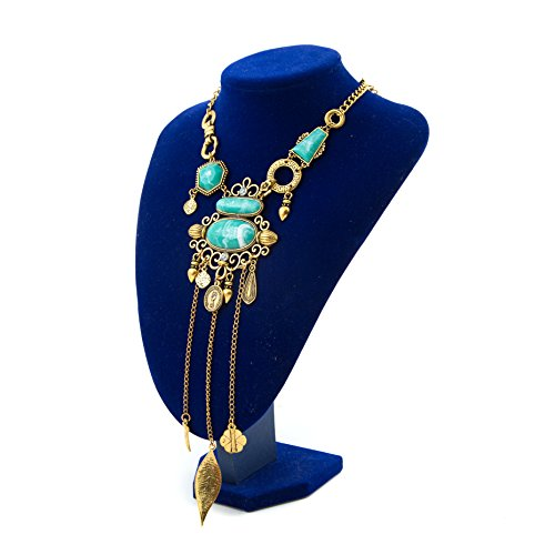 Ethnic Costumes (Miraculous Garden Womens Vintage Alloy Silver/Gold Long Boho Bohemian Necklace Ethnic Tribal Boho Necklace Geometry Turquoise Beads Coin Fringe Necklace (Antique)